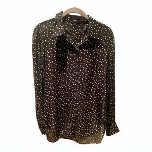 Theory black star print silk chiffon blouse